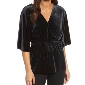 Halogen Womens Blouse Velvet Faux Wrap Size Large